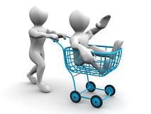 Two men with consumer's basket. 3d Stock Images