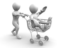 Two men with consumer's basket. Royalty Free Stock Photo