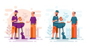 Two men cooking barbeque steaks. In the yard. Flat cartoon style BBQ stock illustration