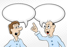 Two men are of different opinion. Vector illustration of two men are of different opinion with empty speech bubbles Royalty Free Stock Photos