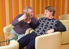 Two men drink beer Royalty Free Stock Image