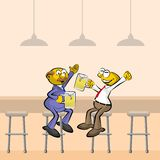 Two Men drinking beer in the bar Stock Photos
