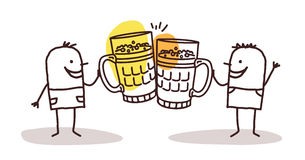 Two men drinking beer. Illustration Stock Photo