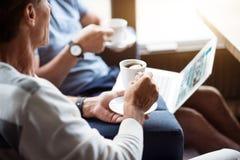 Two men drinking coffee Stock Photo