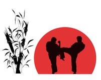 Of two men engaged in karate over red background Royalty Free Stock Image
