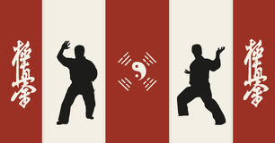 Two men are engaged in karate on a red background Royalty Free Stock Image