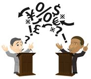 Two Men Engaging in Podium Debate Stock Images