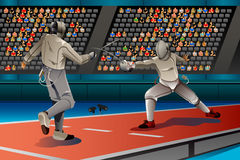 Two Men Fencing in the Competition. A vector illustration of two men fencing in the competition for sport competition series Royalty Free Stock Photo