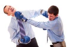 Two men fighting stock image