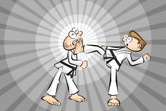 Two men fighting karate Royalty Free Stock Photo