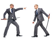 Two men figthing with the sword isolated Royalty Free Stock Photos