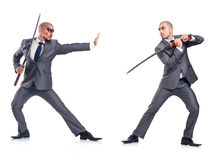Two men figthing with the sword isolated Stock Photography