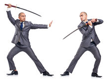 Two men figthing with the sword isolated. Two man figthing with the sword isolated on white stock images