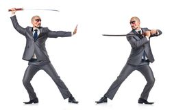 Two men figthing with  sword isolated on white Royalty Free Stock Photography