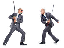 Two men figthing with the sword. Two man figthing with the sword isolated on white stock photo