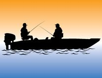 Two Men Fishing From Boat Stock Photos