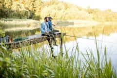 Free Two Men Fishing On The Lake Royalty Free Stock Photo - 121184925