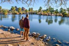 Two Men Fishing royalty free stock image