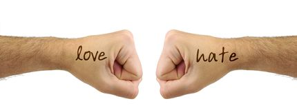 Two men fists with LOVE HATE words. Confrontation Stock Photography