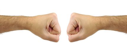 Two men fists punching each other. Confrontation Royalty Free Stock Photo