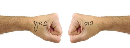 Two men fists with YES NO words. Confrontation Stock Photos