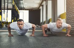 Two men fitness workout, push ups or plank. Multiethnic men workout in fitness club. African-american and caucasian guys making plank or push ups exercise stock images