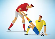 Two men football player First Aid From the initial injury. Soccer cramps vector illustration Royalty Free Stock Photography