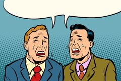 Two men friends crying. Comic cartoon pop art illustration retro vintage kitsch vector Stock Photography