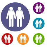 Two men gay icons set Stock Image