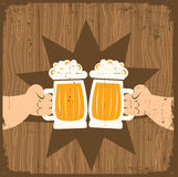 Two men with glasses of beer royalty free illustration