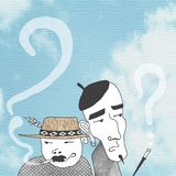 Two men gossiping. Illustration of two men gossiping and smoking. Blue sky background Stock Images