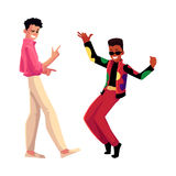Two men, guys, Caucasian and black, at retro disco party Stock Photo