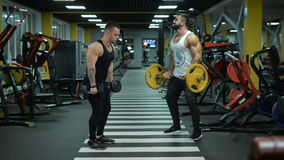 Two men at the gym doing exercises stock video footage
