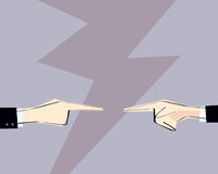 Two men hands with pointing finger directed at each other. Vector illustration. Concept of arguing, accusation, business responsib Royalty Free Stock Image