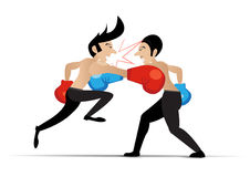 Two men having a fight with boxing gloves, VECTOR, EPS10. Two men having a fight with boxing gloves, VECTOR Stock Images