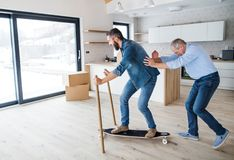 Two men having fun when furnishing new house, a new home concept. Two cheerful men having fun when furnishing new house, a new home concept royalty free stock images
