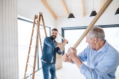 Two men having fun when furnishing new house, a new home concept. Two cheerful men having fun when furnishing new house, a new home concept royalty free stock image