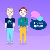 Two Men Hipsters With Chat Bubbles Social Media Communication Concept. Flat Vector Illustration Royalty Free Stock Photo