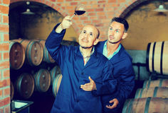 Two men holding glass of wine Stock Photography