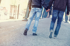 Two men holding hands Stock Photography