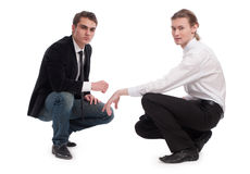 Two men on an isolated background Stock Images