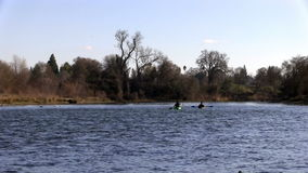 Two Men Kayakers Going Down American River stock video footage