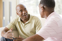 Two men in living room talking and smiling Stock Photography