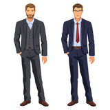 Two Men. Man In Business Suit. Elegant Young Cartoon Businessman Royalty Free Stock Photography
