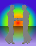 Two Men Meeting. Two men in silhouette, over rainbow background.Hand drawn illustration,no models used Royalty Free Stock Photo