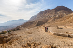 Two men near archaeological site in desert. Royalty Free Stock Photo
