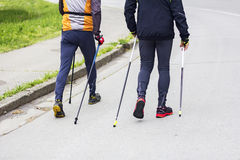 Two men nordic walking Royalty Free Stock Photo