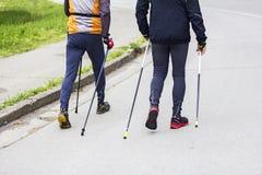 Two men nordic walking Royalty Free Stock Photo