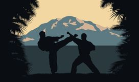 Two men occupy karate on a background an ocean and mountains. Stock Images