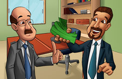 Two men in a office. Man trying to do a business or a corruption Stock Photo